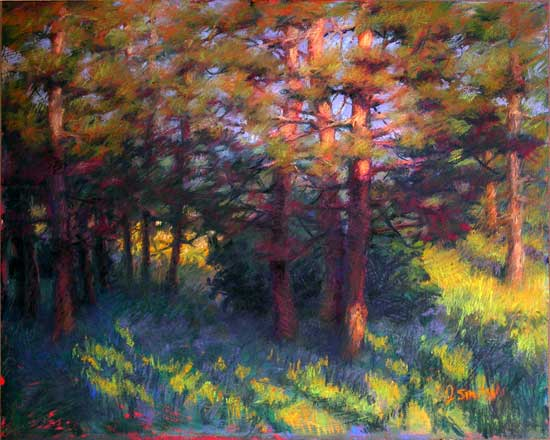 Pine Trees and the Golden Hour | plein air sketch to studio landscape painting
