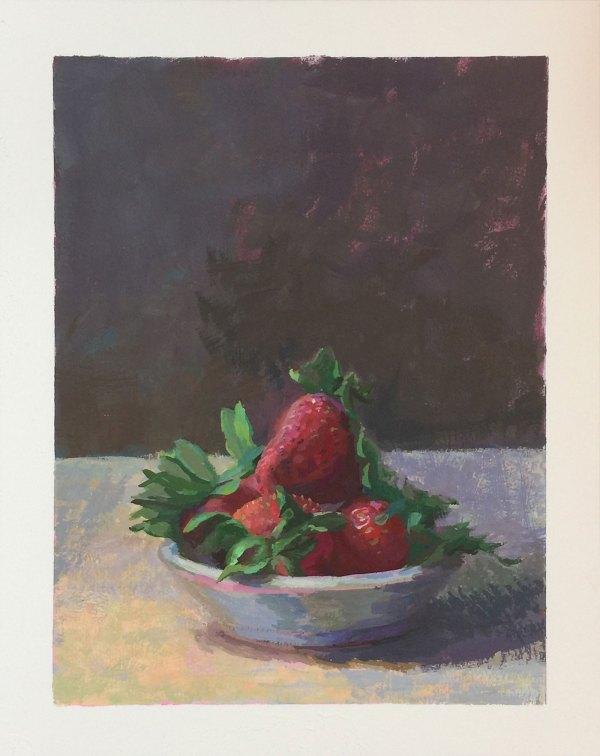Strawberries | Gouache | Jeffrey Smith Art