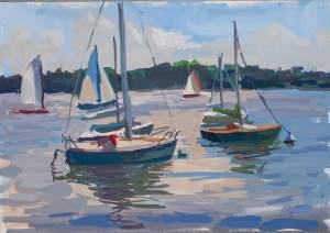 Setting Sail, a painting of sail boats on Bde Maka Ska, the former Lake Calhoun in Minneapolis, MN