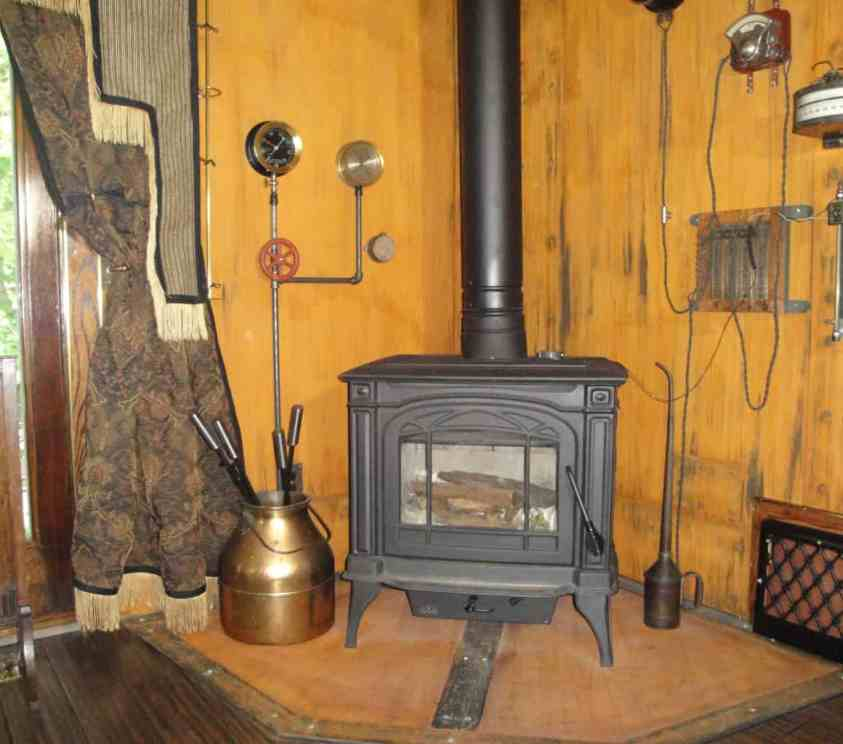Steampunk Living Room Wood Stove Surround