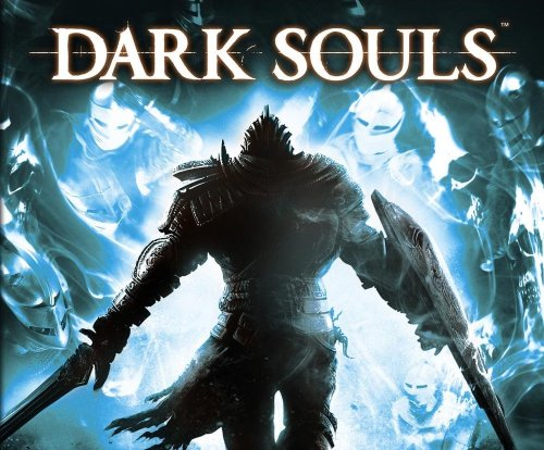 A promotional image from Dark Souls showing the main player character walking towards what looks like a crowd of spirits or fallen knights.