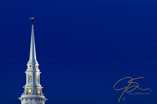 The brilliant white steeple of the North Church in Portsmouth, NH