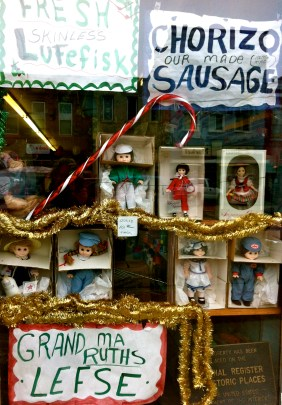 One stop shopping: lutefisk, sausage dolls and lefse.