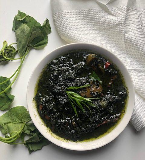 Vegan Potato/Yam Greens With Mushrooms