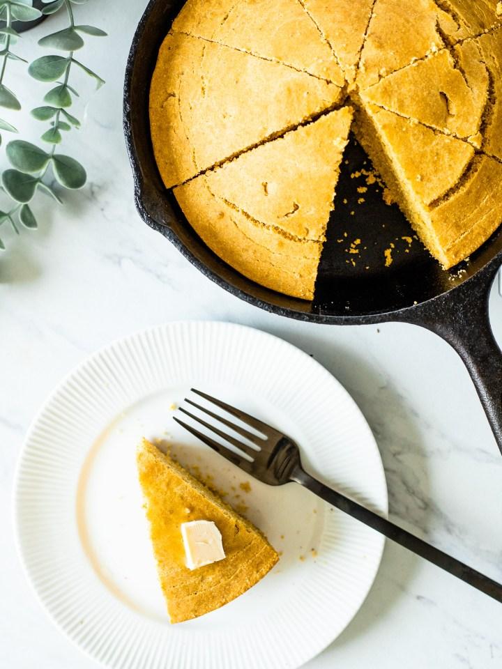 Vegan Cornbread Recipe in a Cast Iron