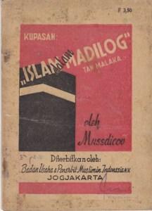 Mussdicov, Kupasan Islam dalam Tinjauan MADILOG Tan Malaka, Badan Usaha & Penerbit Muslimin Indonesia, 1950, 20 halaman