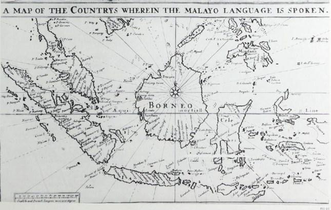 Sebuah peta Kepulauan Melayu yang terdapat pada  Kamus Melayu-Inggris pertama yang dikarang oleh orang Inggris, Thomas Bowrey, tahun 1703. Sumber foto: Gallop, Annabel Teh & Bernard Arps. Golden Letters: Writing Traditions of Indonesia. London: The British Library