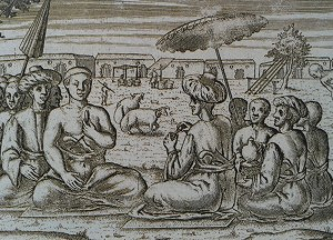 Ilustrasi yang menggambarkan penguasa dan Kadi (Ulama) di Banten tahun 1596. Sumber foto: Guillot, Claude, Hasan Ambary dan Jacques Dumarcay. 1990. The Sultanate of Banten. Jakarta: Gramedia Book Publishing Division.