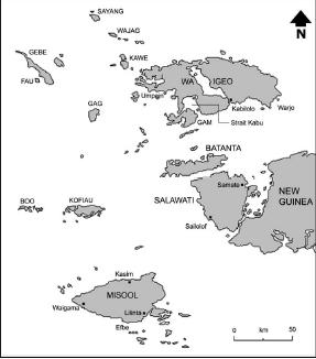 Peta Raja Ampat. Sumber foto: Andaya, Leonard Y. 1993. The World of Maluku: Eastern Indonesia in the Early Modern Period. Honolulu: University of Hawaii Press.