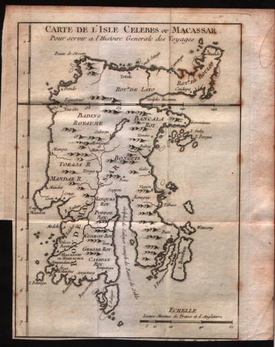 Peta Makassar tahun 1750. Sumber foto: http://www.swaen.com/item.php?id=26646