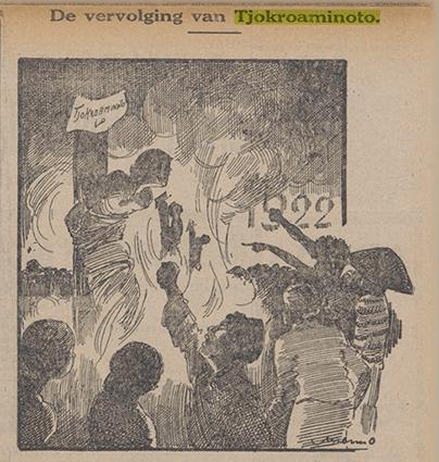 Gambar 1.10 Kartun yang mengangkat tentang penuntutan hukum terhadap Tjokroaminoto atas tuduhan keterlibatannya di kasus 'Sarekat Islam afdeling B.' Sumber foto: Het Nieuws van Den Dag, 12 Desember 1921