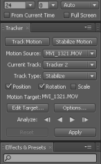 AE Tracking Tools Parameter