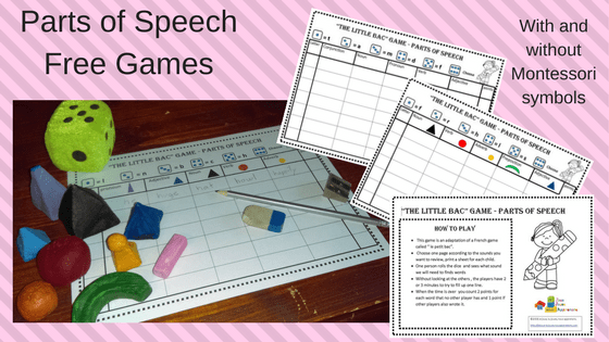 Parts Of Speech Games Je Joue Tu Joues Nous Apprenons