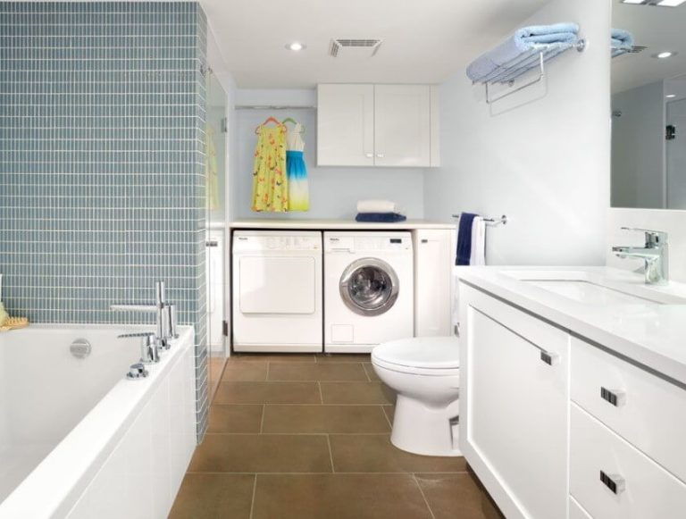 Basement Laundry Room Ideas - Connected to Basement Bathroom