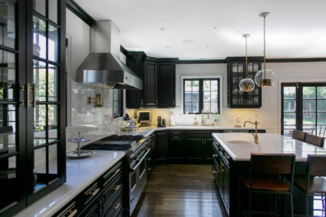 traditional kitchens with black appliances