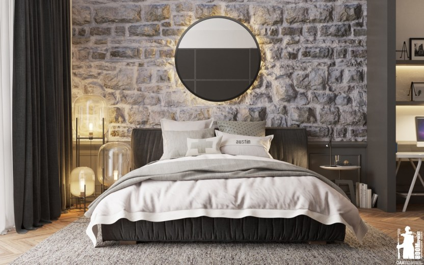 Mirror Stone Accent Wall Bedroom
