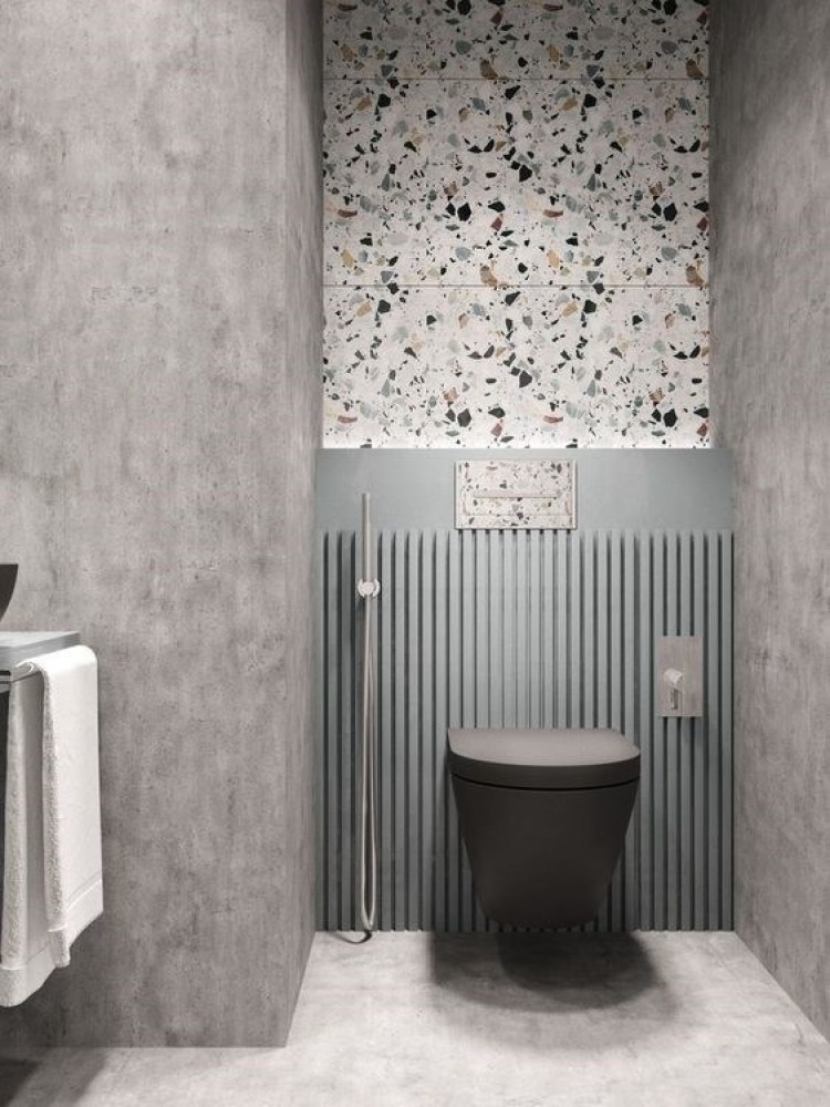 Chic Small Bathroom Ideas - Monochrome with Accent of Terrazzo