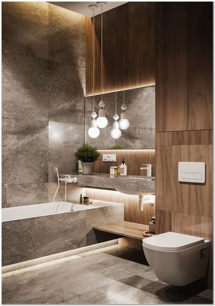Basement Bathroom Ideas - Natural Combination of Wood and Stone