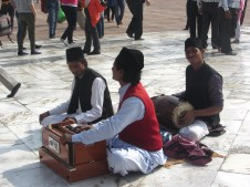 Playing music outside the fort
