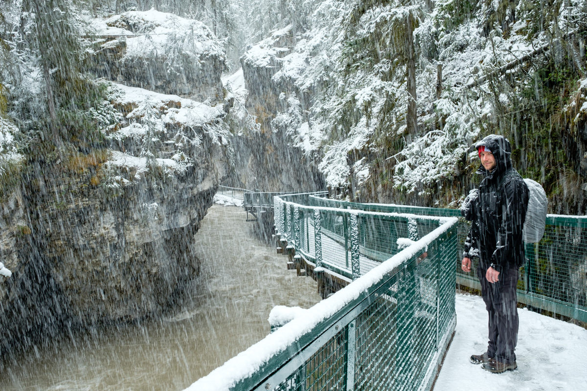 Johnston Canyon in Banff with snow