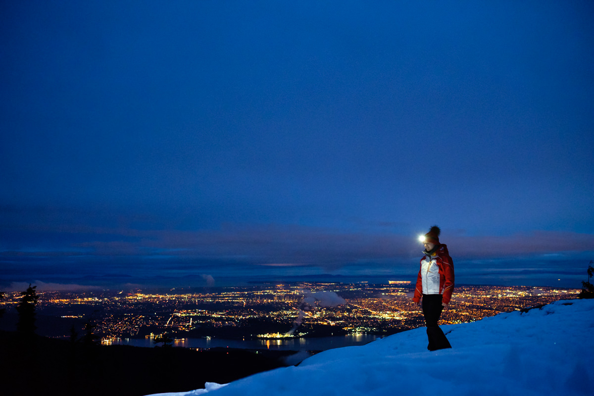 snowshoeing in the dark at Dog Mountain Mt. Seymour