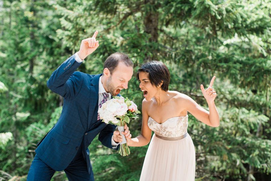 a fun wedding photo of bride groom in Squamish