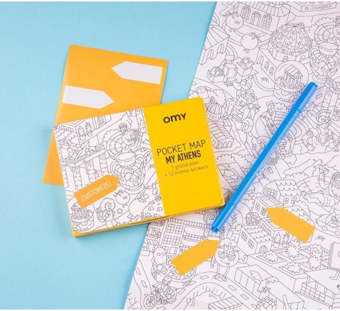 My Athens Coloring Pocket Maps-Coloring Pocket Maps-OMY-jellyfishkids.com.cy