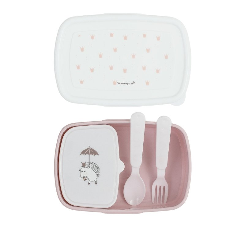 Princess Lunch Box w/Cutlery, Rose-Lunchbox-Bloomingville-jellyfishkids.com.cy