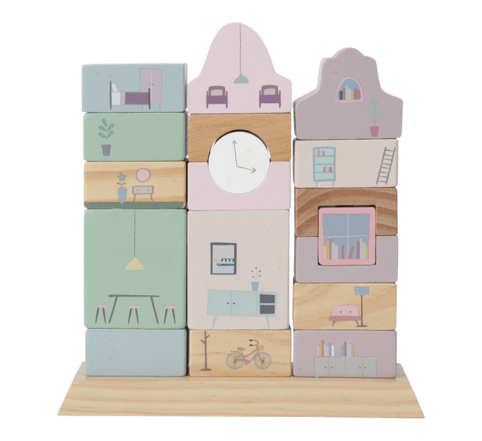 Stacking blocks facades pink-Wooden Toys-Little Dutch-jellyfishkids.com.cy