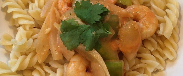 Pâtes aux crevettes sauce piquante