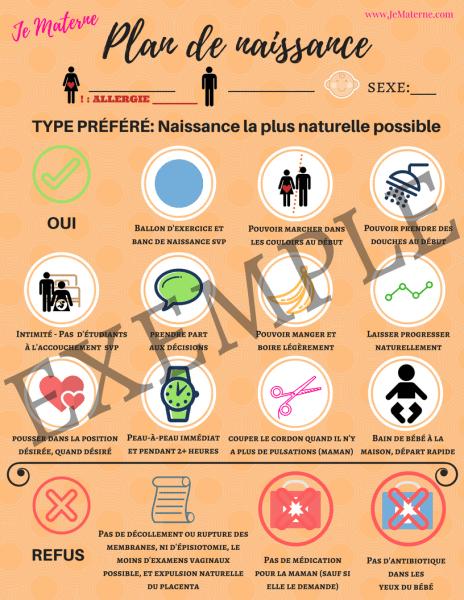 Plan de naissance visuel, exemple - À commander sur le site www.JeMaterne.com