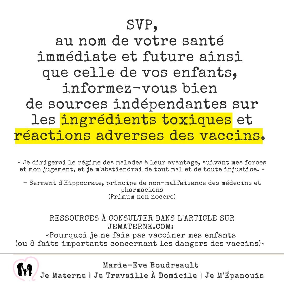 RESSOURCES À CONSULTER DANS L'ARTICLE SUR JEMATERNE.COM: «Pourquoi je ne fais pas vacciner mes enfants (ou 8 faits importants concernant les dangers des vaccins)»
