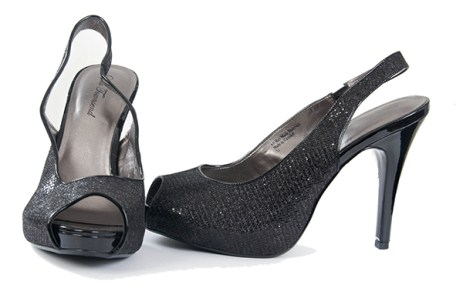 Open toe black shoe with slight sparkles by Lulu TownSend