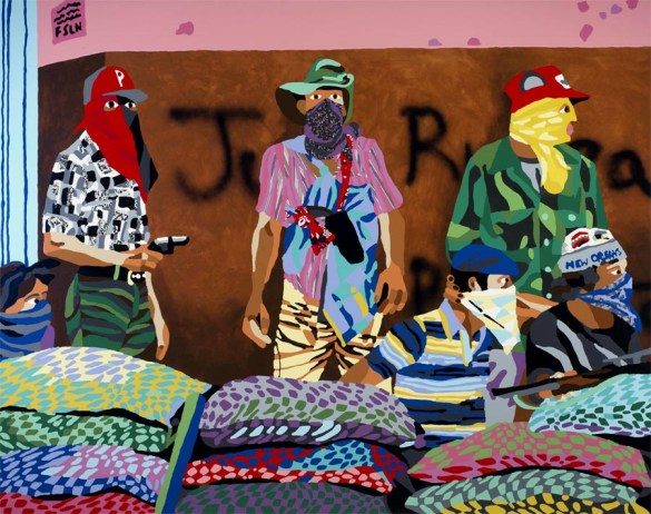 PTCC_As seen by Susan Meiselas, Muchachos await the counterattack by the National Guard, Matagalpa, Nicaragua, 1978-79_poured paint and embedded fabric_213x168cm
