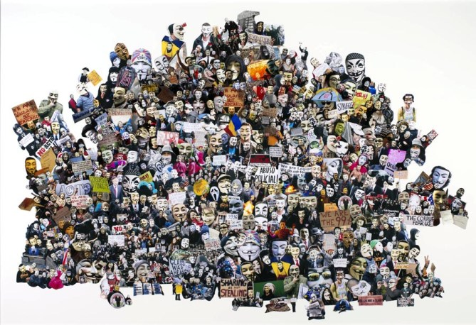 PTCC_Visual Resistance (Guy Fawkes Mask, V for Vendetta, Anonymous, Occupy Movement…)_Collage_200x150cm
