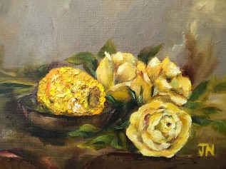 """Sweetcorn and the yellow roses"", oil on 6"" x 8"" canvas panel, July 2016"