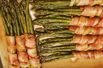 bacon wrapped asparagus with butter brown sugar soy sauce