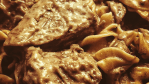 5 ingredient crock pot beef stroganoff is an easy dinner recipe that cooks by itself over a low heat and is a family favorite meal