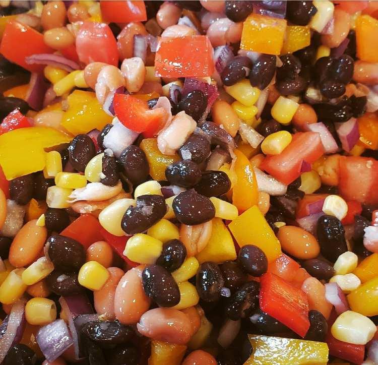 cowboy caviar is a healthy veggie salsa with a vinagrette dressing