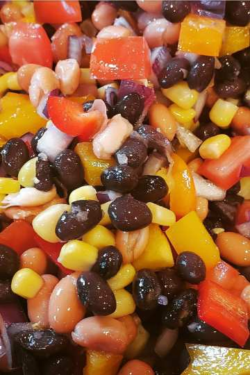 cowboy caviar is a healthy veggie salsa with a vinagrette dressing