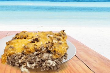 cheeseburger in paradise casserole is just like eating a juicy cheeseburger, but in a casserole form with ground beef, cheese, and bisquik for the roll