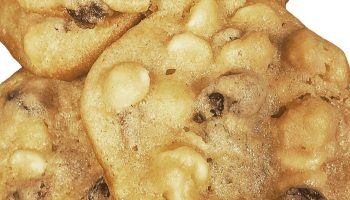 white chocolate chip cookies with craisins, macademia nuts are the best alternative cookie to chocolate chip cookies