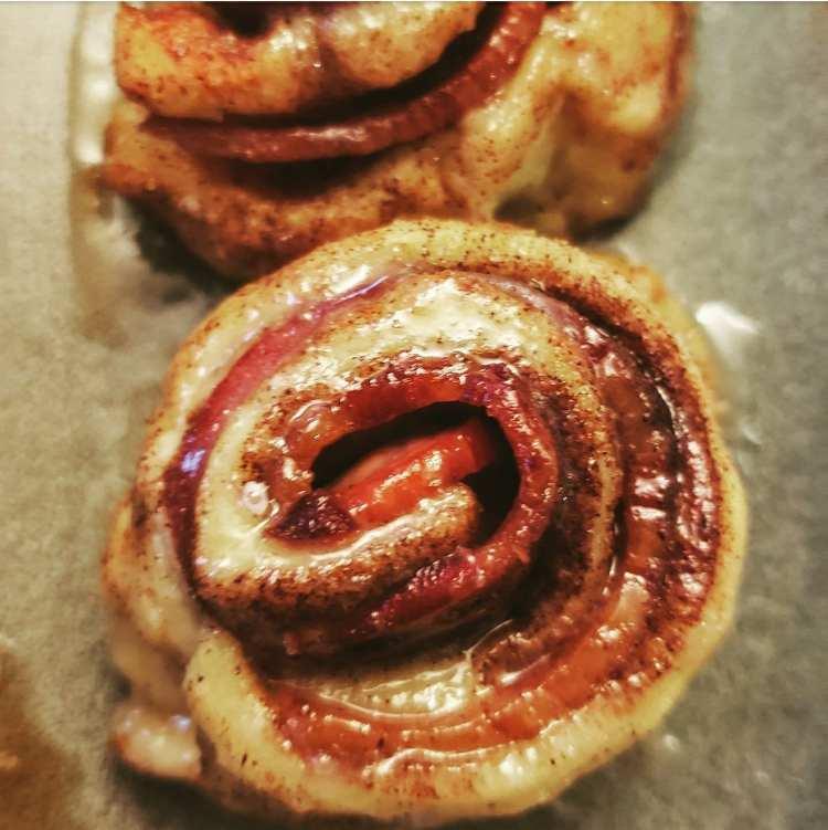 maple bacon cinnamon rolls made with pillsbury crescent rolls