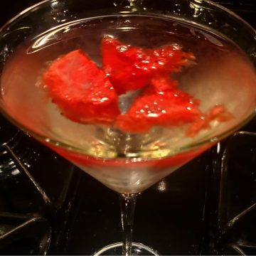 watermelon martini with blueberry vodka and watermelon liqueur