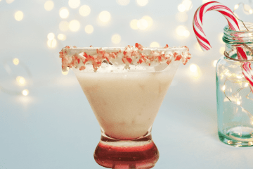 candy cane martini is the perfect cocktail for the holiday season, it is composed of peppermint schnapps, vanilla vodka, and godiva's white chocolate liqueur