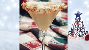 sugar cookie martini is a festive christmas drink that consists of vanilla vodka and butterscotch schnapps with a festive rim of marshmallow fluff and crushed pop tarts