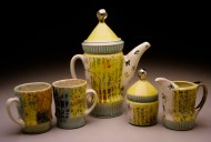 coffee service 2003, porcelain, decals, luster