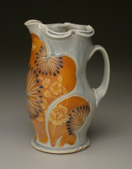pitcher, salt-fired porcelain, decals