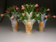 tulip vases 2007, salt-fired porcelain, decals