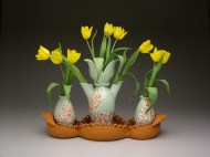 tulip vases and tray 2008, porcelain and earthenware